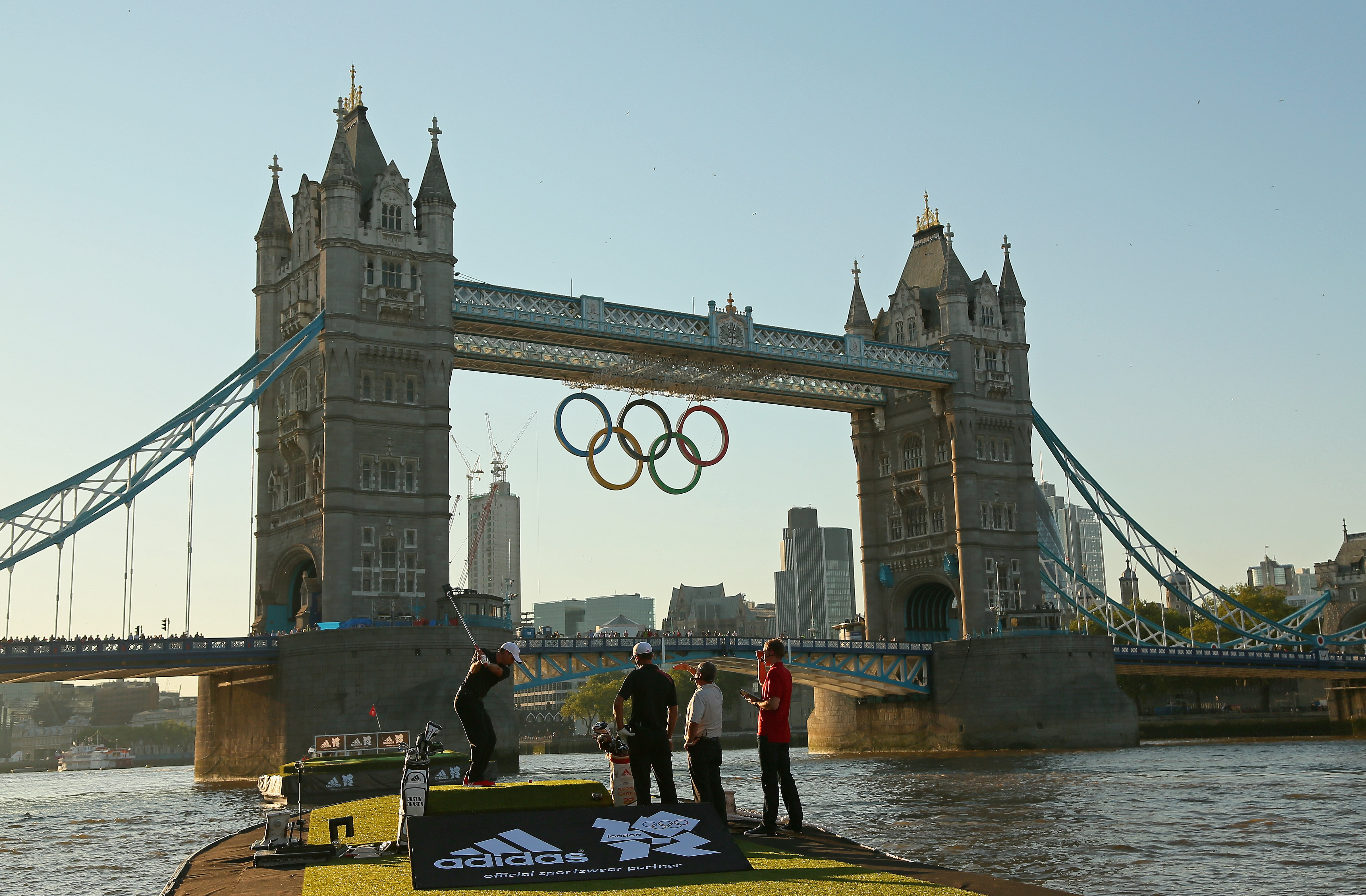 LONDON, ENGLAND - JULY 23:  Sergio Garcia of Spain hits balls into the Thames River during the Adidas Paints the Town Red Adidas London Golf Challenge at the Tower Bridge on July 23, 2012 in London, England.  (Photo by Mike Ehrmann/Getty Images)